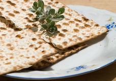 Matzah. Still life of matzah  and leaf Stock Images