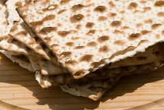 Matzah. Still life of matzah on the wooden plate stock images