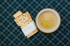 Matzah balls in a bowl of soup Royalty Free Stock Photo