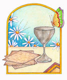 Matzah and Cup. An illustration of matzah, silver cup and butterfly on a seder table. With spring flowers in the background Stock Images