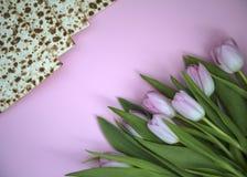 MATZAH DLA PASSOVER I tulipanów kwiatów zdjęcia royalty free