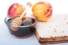 Matzah and nectarine Royalty Free Stock Photography