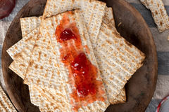Matzah  with Preserves - Unleavened Bread for Passover Royalty Free Stock Photo