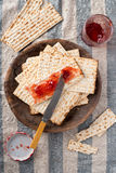 Matzah  with Preserves - Unleavened Bread for Passover Royalty Free Stock Images