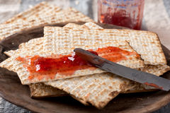 Matzah  with Preserves - Unleavened Bread for Passover Royalty Free Stock Image