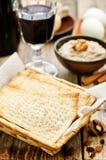 Matzah, wine, eggs, chicken, greens and haroset Stock Photography