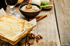 Matzah, wine, eggs, chicken, greens and haroset Royalty Free Stock Photo
