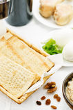 Matzah, wine, eggs, chicken, greens and haroset Royalty Free Stock Images