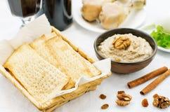 Matzah, wine, eggs, chicken, greens and haroset Royalty Free Stock Image