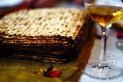Matzah and wine Passover Seder meal Stock Photos