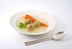 Matzo ball soup. Traditional passover matzo ball soup with spun and matza Royalty Free Stock Photos