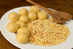 Matzo Balls and Noodles Stock Photo