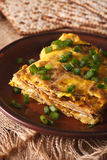 Matzo fried with eggs and green onions - matzah brei close-up. v Royalty Free Stock Image