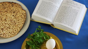 Matzo (jewish bread) on seder table stock video footage