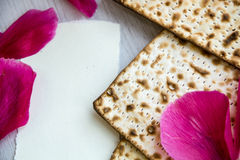 Matzo or matzah is bread traditionally eaten by Jews during the week-long Passover holiday Royalty Free Stock Photo