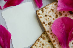 Matzo or matzah is bread traditionally eaten by Jews during the week-long Passover holiday Royalty Free Stock Photography