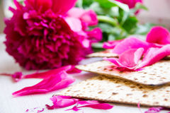 Matzo or matzah is bread traditionally eaten by Jews during the week-long Passover holiday Stock Images