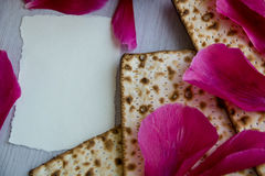 Matzo or matzah is bread traditionally eaten by Jews during the week-long Passover holiday Stock Photos