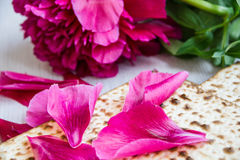 Matzo or matzah is bread traditionally eaten by Jews during the week-long Passover holiday stock photo