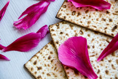 Matzo or matzah is bread traditionally eaten by Jews during the week-long Passover holiday Royalty Free Stock Photos