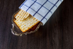 Matzo for Passover on table Royalty Free Stock Image