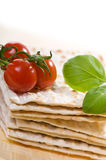 Matzo with tomato Stock Photo