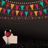 Matzoh и вино счастливой еврейской пасхи традиционный party предпосылка Стоковое Изображение RF