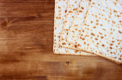 Matzoh (jewish passover bread) over wooden background Stock Photography