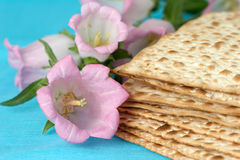 Matzos with flowers stock image