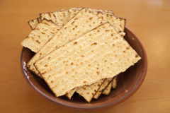 Matzos. Jewish passover bread on brown plate Royalty Free Stock Photo