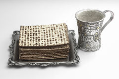 Matzos for Passover. Handmade with A silver bowl Stock Photography