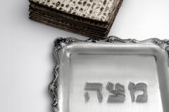 Matzos for Passover. Handmade with A silver bowl Royalty Free Stock Image
