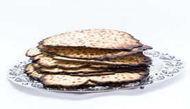 Matzos for Passover. Handmade with A silver bowl Stock Photo