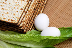 Matzot, eggs and lettuce Royalty Free Stock Images