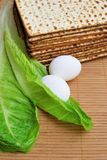 Matzot, eggs and lettuce Stock Photo