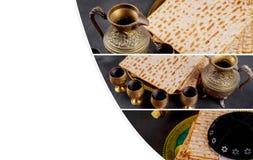 Matzot i cztery szkła czerwone wino symbole Passover zdjęcia stock