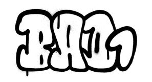 Mau da fonte da bolha dos grafittis uma 1 palavra no preto no branco Fotos de Stock