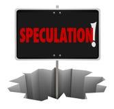 Mau do furo do sinal de aviso do perigo da especulação que supõe erradamente ilustração do vetor