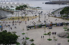 Maua Square in Rio de Janeiro. Old port area with statue of the Barão de Mauá, industrial pioneer of Brazil, and Museum of Tomorrow with hashtag Olympic royalty free stock photo