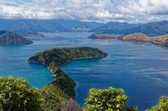 Maud Island in the Marlborough Sounds, New Zealand. The view from the top of Maud Island, predator-free island, looking into the Marlborough Sounds in New stock photos