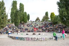 Mauerpark, Berlin, Germany. BERLIN, GERMANY - SEPTEMBER 22: the Bearpit Karaoke Show is a stone circular stage area with surrounding amphitheatre and it is Royalty Free Stock Photo