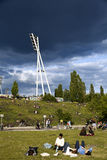 Mauerpark Stadium Lighting Tower And Hill Berlin Germany Royalty Free Stock Photos