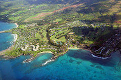 Maui from the air. Aerial of resort in Maui Hawaii Royalty Free Stock Images