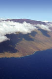 Maui from the air. Aerial of volcano in Maui Hawaii Royalty Free Stock Image