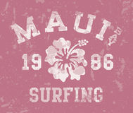 Maui Bay surfing. Vector vintage print for girl t-shirt in custom colors royalty free illustration