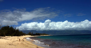 Maui beach. And clouds in hawaii royalty free stock photos