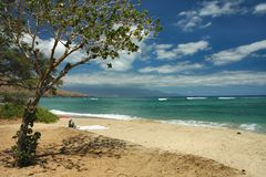 Maui Beach. The lovely and quiet Puamana Beach in west Maui in the Hawaiian Islands Royalty Free Stock Photography