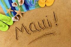 Maui Hawaii beach sand word writing Royalty Free Stock Image