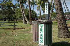 Recycle Bin in a park Maui Island Stock Photo