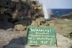 Maui Blow hole Warning. Nakalele Blow hole Maui Island Royalty Free Stock Images